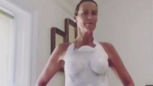 Princess Diana's bridesmaid India Hicks goes topless in just white paint for royal party