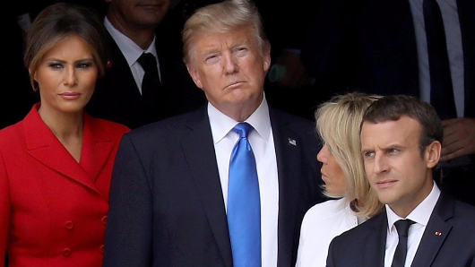 Macron got a little NSFW with his wife during the Trump's visit