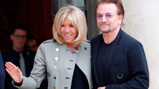 Bono meets Macrons in Paris to talk about fight against poverty