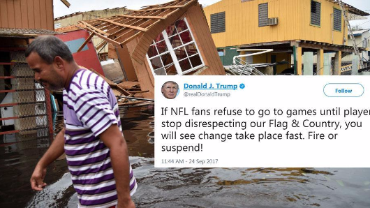 While Donald Trump argues with football players, people are dying in Puerto Rico